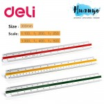 Deli High Precision Drawing Scale Ruler 30cm (1:100 1:200 1:250 1:300 1:400 1:500)