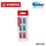 STABILO 1183C Legacy Eraser Pastel Colorful Edition (Pack of 6)