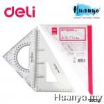 Deli Transparent Plastic Set Square Metric Ruler 28 CM 6430