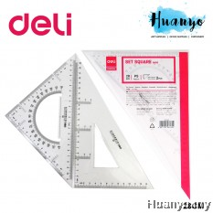 Deli Transparent Plastic Set Square Metric Ruler 28 CM 6430
