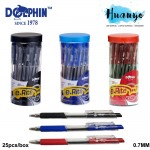 Dolphin E Rite Retractable Ball Pen 0.7MM Value Set Pack Black/Blue/Red (25pcs/Box)
