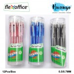 Flexioffice Startup Retractable Gel Ink Pen Black/Blue/Red Value Pack Set (12pcs/box)