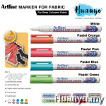 Artline White & Pastel Colour Fabric T Shirt Marker For Dark Colored Fabric (1.2MM Bullet Tip)