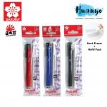 Sakura Retractable Nock Auto Eraser Pen + Refill Set (Black, Blue Red)