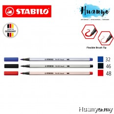 Stabilo Premium Calligraphy Drawing Water Colour Fibre Brush Tip Pen 68 Brush (Black, Blue, Red)