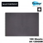 Masterprint Acid Free Wire O Wire-O Hard Cover Sketch Book A4 Landscape 115gsm/100 sheets