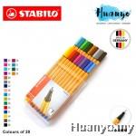 Stabilo Point 88 Fineliner Marker Pen 0.4 mm - 20 Color Wallet Set