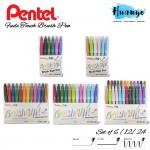 Pentel Fude Touch Brush Sign Pen Colour (Wallet Set of  6 / 12 /24 Color) [Pastel & Common Colour]
