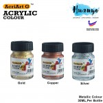 Acriart G Non Toxic Metallic Acrylic Colour Paint (Gold, Silver, Copper, 30ML / Bottle)