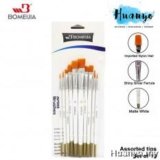 Bomeijia Artist Nylon Painting Brush Set (Set of 10 - Assorted Tips: Liner, Round, Flat, Chisel, Filbert, Angular, Fan Tip)