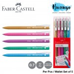 Faber-Castell Retractable RX Colour Gel Pen (0.7mm) [Per Pcs / Wallet Set of 5, Green, Gold, Lilac, Pink, Turquoise]