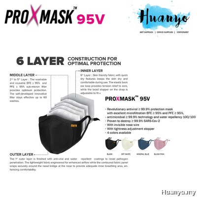 ProXmask 95 V/ 95V 6 Layer Anti Viral Breathable Reusable Washable Fabric 3D Face Mask (Microfiltration (BFE & PFE)   Anti-Microbial   Water Repellent   Up to 60 Washes   Easy to Breathe   Skin Friendly)
