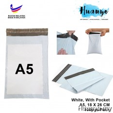 White Plastic Flyer Courier Pos Parcel Packaging Bag 100pcs/pack (A5 - 18 X 26CM Small (S) Size, With Pocket)