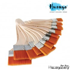 Bosei Wooden Handle Nylon Flat Wide Broad Brush 713 (No. 2 / 4 / 6 / 8 / 10 /12, Muslim Friendly)