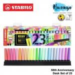 [50th Anniversary Edition] Stabilo Boss Original & Pastel Colour Highlighter Textliner Desk Set (Color Set of 23)