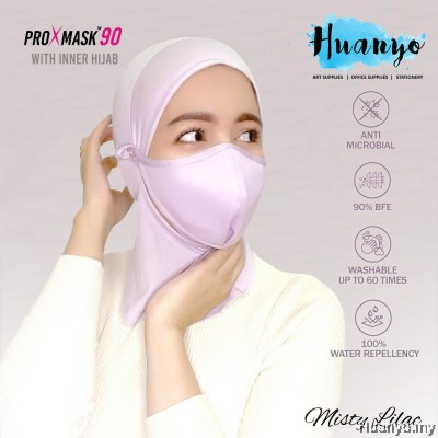 Muslimah Inner Hijab + ProXmask 90 5 Layer Anti Bacterial Reusable Washable Fabric 3D Face Mask Antimicrobial / Pelitup Muka + Anak Tudung  (BFE   Water Repellent   Up to 60 Hand Washes   Breathable   Skin Friendly   Pastel Colour)