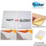 (Simili Matte / Glossy / Brown Kraft) A4 Easy Peeling Printable White Sticker Paper 150gsm For Inkjet Printer (10pcs/pack)