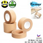 Loytape Star Brown Kraft Paper Gum Tape (24MM / 36MM / 48MM / 60 MM /72MM) [50 Meter / 55 Yards Per Roll, Water Activated Adhesive]