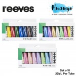 Reeves Artist Acrylic Colour Paint Set (Pastel / Metallic / Primary Set, Color of 8 , 22ML Tube)