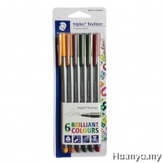Staedtler Triplus Fineliner 0.3mm  - Earthia (Set of 6 Colours)