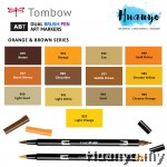 Tombow ABT Dual Tips Drawing & Calligraphy Brush Pen - Orange & Brown Shades (13 Colours, Per PCS)