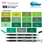 Tombow Dual Brush Pen Green Shades (15 Colours)