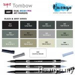 Tombow ABT Dual Tips Drawing & Calligraphy Brush Pen - Black Gray Shades (13 Colours, Per Pcs))