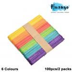 Wooden Popsicle Ice Cream Sticks Multi-color - S (100pcs/2 packs)